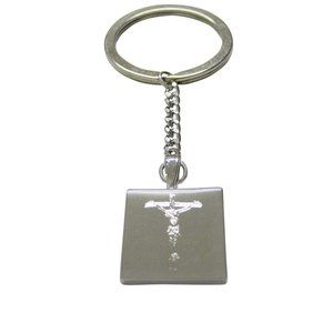 Etched Religious Crucifix Cross Keychain